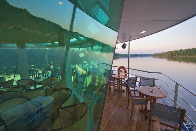 The forward-facing lounge aboard AmaCello features outdoor seating. Photo courtesy of AmaWaterways.