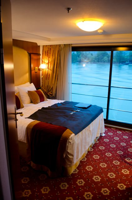 One of the standard French Balcony staterooms aboard Swiss Jewel. Photo © 2012 Aaron Saunders