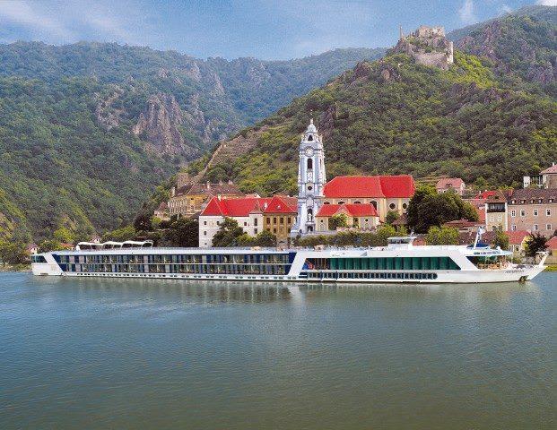 AmaBella cruises past Durnstein, Austria. Photo courtesy of AmaWaterways.