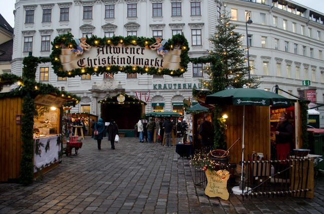 A small Christmas Market in Vienna; one of 12 the city put on each and every year. Photo © 2012 Aaron Saunders