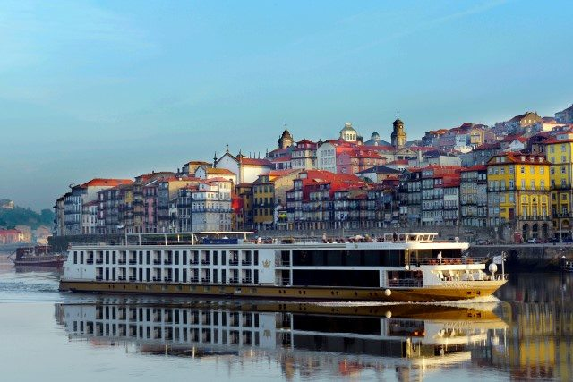 AmaVida entered service along the Douro in 2013. She is shown here in Porto, Portugal. Photo courtesy of AmaWaterways.