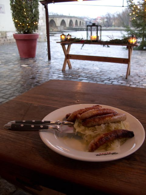 Enjoy some bratwurst at the oldest sausage house in all of Germany in Regensburg. Photo © 2011 Aaron Saunders