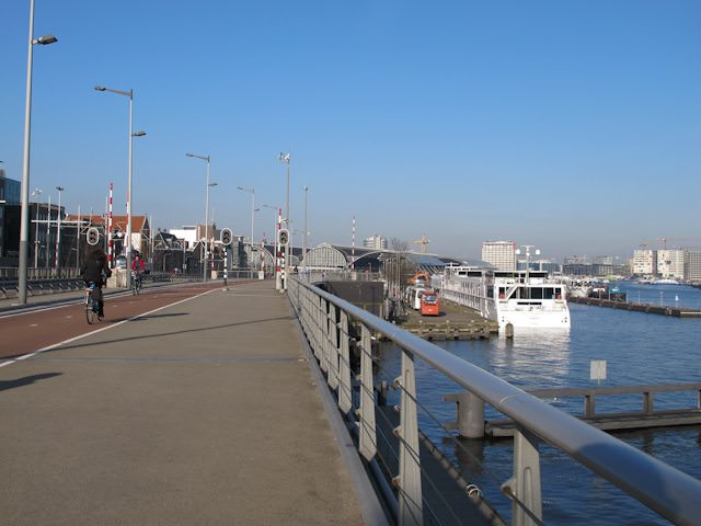 Most ships in Amsterdam dock here, next to the Passenger Terminal Amsterdam - and within easy walking distance of the city. Some, though, must dock further out. Photo © 2015 Aaron Saunders