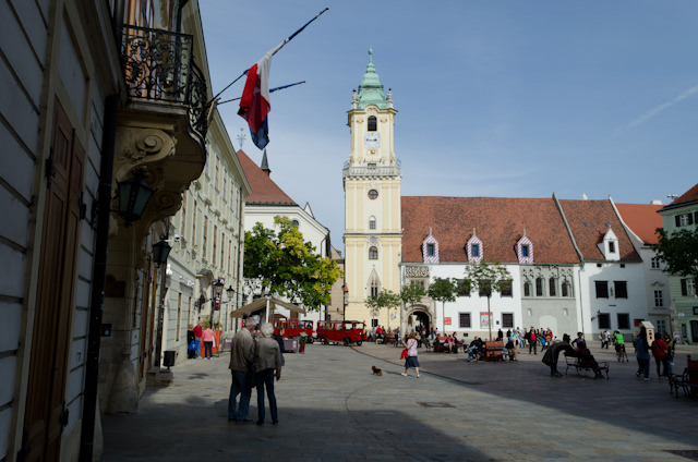 """Bratislava's """"Old Town"""" is a wonderful, pedestrian-only section of the city. Photo © 2012 Aaron Saunders"""