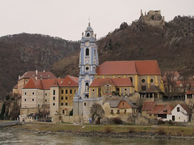 Durnstein, Austria as seen from the Danube on a chilly December day. Note Durnstein Castle on the upper right. Photo © Aaron Saunders