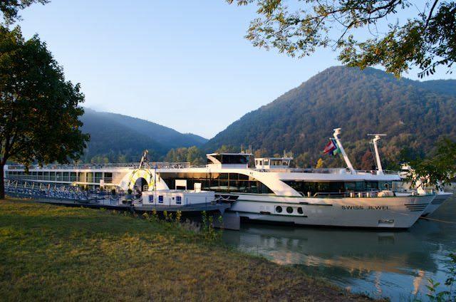 Tauck's Swiss Jewel, docked in beautiful Durnstein, Austria. Photo © 2012 Aaron Saunders