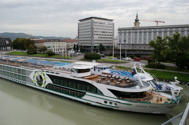 Tauck's Swiss Jewel docked in Linz, Austria. Photo © 2012 Aaron Saunders