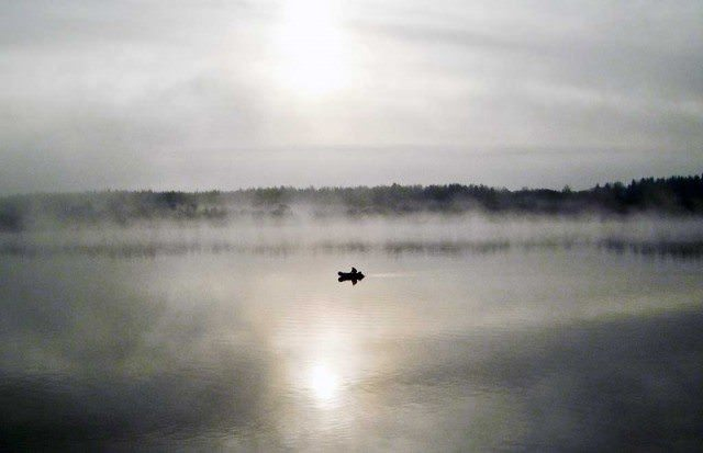 Ghostly morning on the Volga River