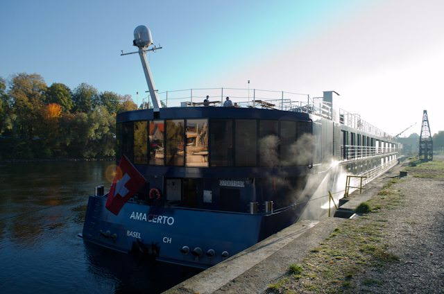 The stern of the brand-new AmaCerto, as seen in Regensburg, Germany. Photo © 2012 Aaron Saunders