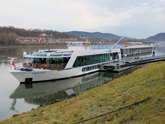 AmaWaterways' AmaLyra docked in Melk, Austria. Photo © Aaron Saunders