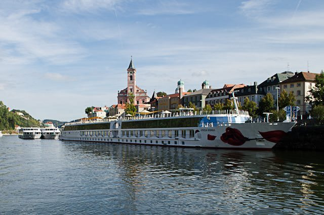A-ROSA DONNA alongside in Passau, Germany. Photo © 2012 Aaron Saunders