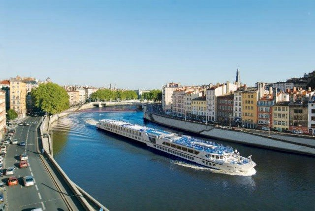 The gorgeous River Royale docked in Lyon, France. Photo courtesy of Uniworld River Cruises.