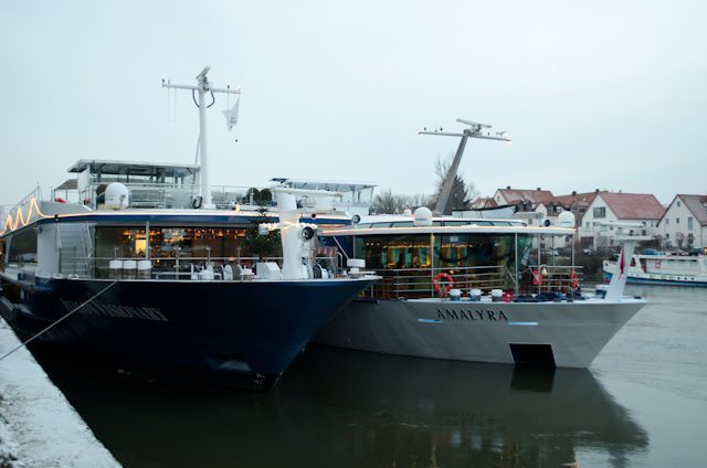 Avalon Waterways' Avalon Visionary, on the left, in Regensburg, Germany. Photo © 2012 Aaron Saunders