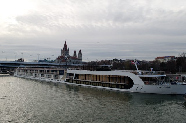 The brand-new AmaCerto, docked in Vienna, Austria. Photo © 2012 Aaron Saunders