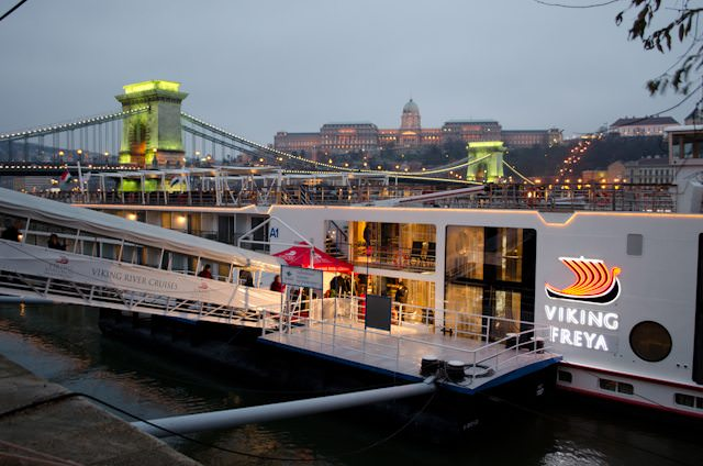 Viking Freya in Budapest in December 2012 for one of her Christmas Markets voyages. Photo © 2012 Aaron Saunders