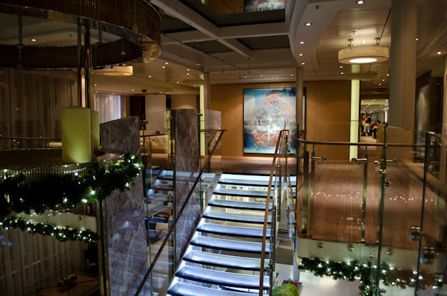 The spacious reception lobby, as seen from its second floor, aboard Viking Freya. Photo © 2012 Aaron Saunders