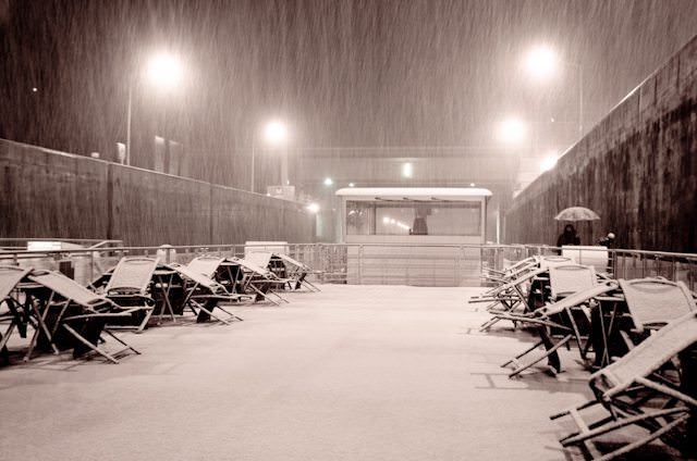 Snow falls on Viking Freya in December 2012. Photo © 2012 Aaron Saunders