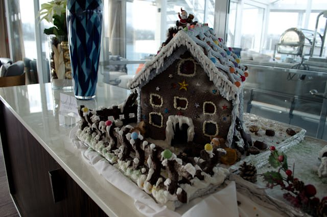 A hand-made Gingerbread House aboard Viking Freya. Photo © Aaron Saunders