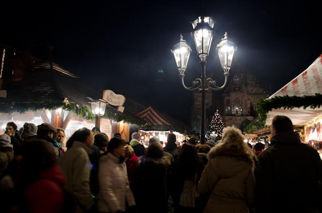 Exploring the beautiful Nuremberg Christkindlesmarkt during the evening of December 8, 2012. Photo © 2012 Aaron Saunders