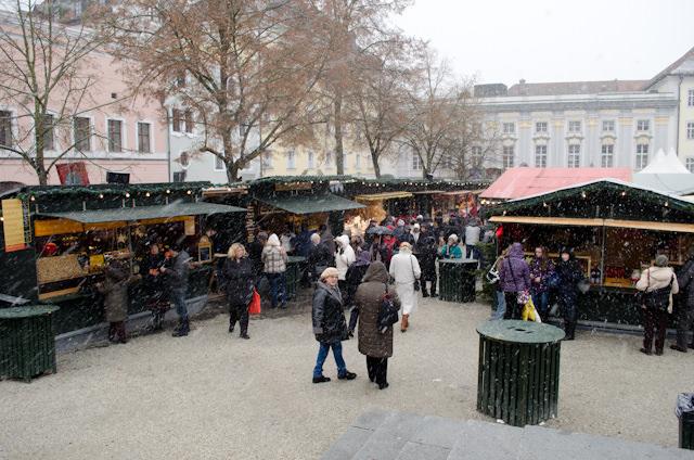 Passau's Christkindlesmarkt, under fresh snowfall. Photo © 2012 Aaron Saunders