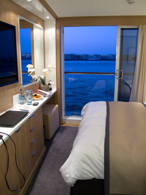 Evening falls on our French Balcony stateroom aboard Viking Odin. Photo © 2012 Aaron Saunders