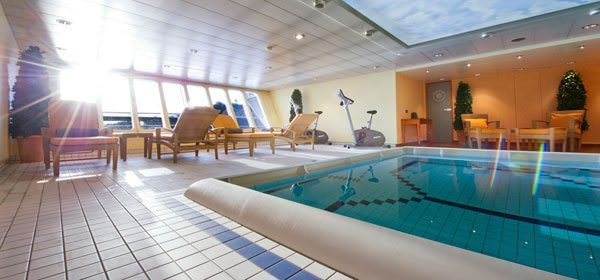The MS Mozart has it's own full-sized, forward-facing swimming pool; an unusual amenity aboard a river cruise ship. Photo courtesy of Dertour.