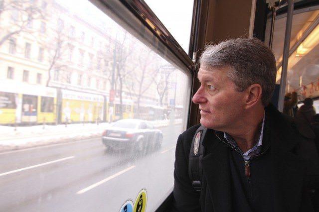 Ralph Grizzle on tram in Vienna