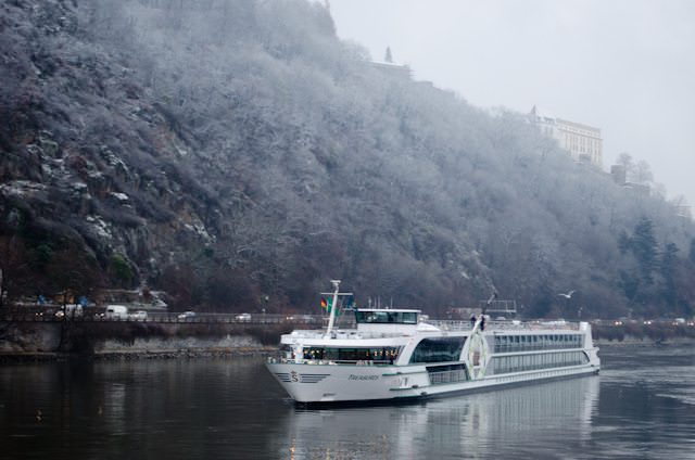 Tauck's ms Treasures arrives in Passau, Germany in December 2012. Photo © 2012 Aaron Saunders