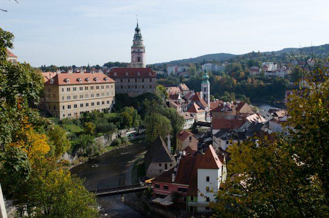 The beautiful town of Cesky Krumlov, seen from Cesky Krumlov Castle. Photo © 2012 Aaron Saunders