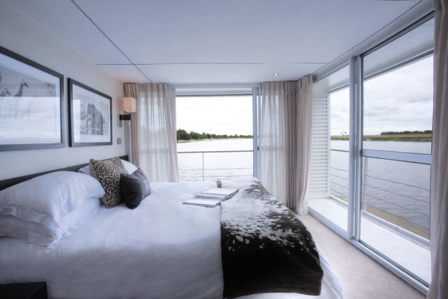 One of the well-appointed suites aboard the Zambezi Queen. Photo courtesy of AmaWaterways