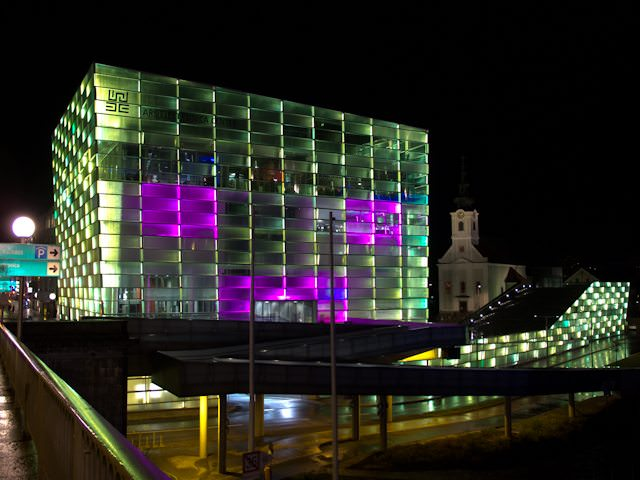 The Ars Electronica Center is a brilliant focal point by day and night - and worth a visit! Photo © Aaron Saunders