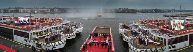 A new world's record: 10 Viking Longships christened today in Amsterdam.