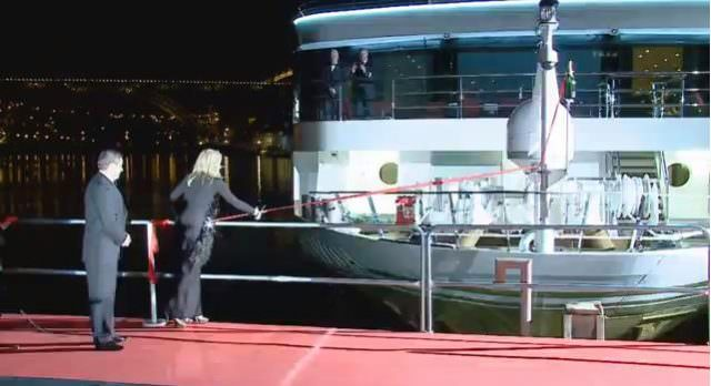 Actress Sharon Stone officially christens AmaWaterways' new AmaVida in Porto, Portugal on March 22, 2013. Photo courtesy of AmaWaterways.