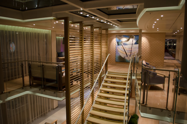 The stunning, newly-designed atrium space aboard Viking Bragi. Photo © 2013 Aaron Saunders
