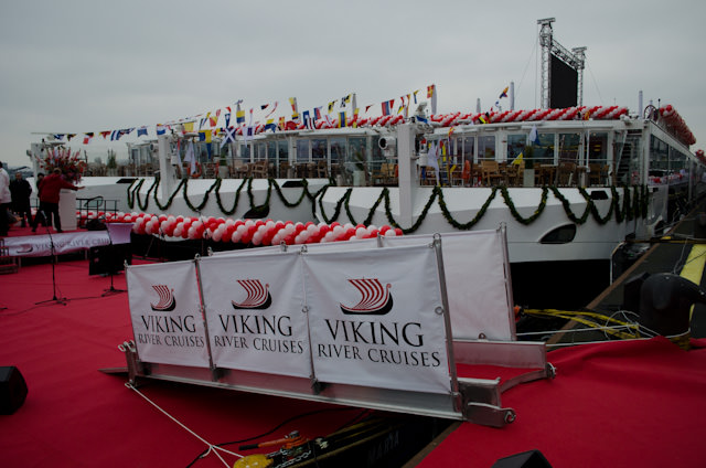 Today, Viking River Cruises christened an astonishing 10 Viking Longships in a single day - and broke a Guinness World Record! Photo © 2013 Aaron Saunders