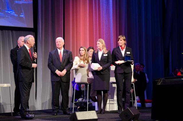 Meyer Werft chairman Bernard Meyer gives his heartelt words to Torstein Hagen. Photo © 2013 Aaron Saunders