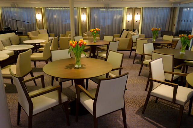 Other Little Changes: Tables and chairs on Viking Bragi replace the cluster of couches aboard previous Longships.