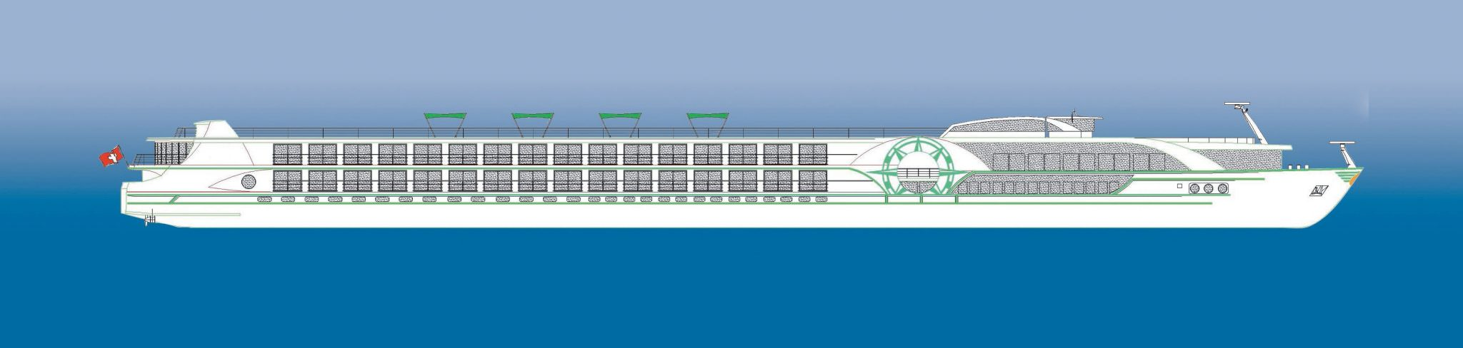A 2D rendering of Tauck's new MS Inspiration and MS Savor, due to enter service in 2014. Illustration courtesy of Tauck.