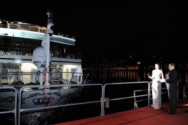 Actress Andie MacDowell christens Uniworld's new Queen Isabel in Porto, Portugal. Photo courtesy of Uniworld Boutique River Cruises