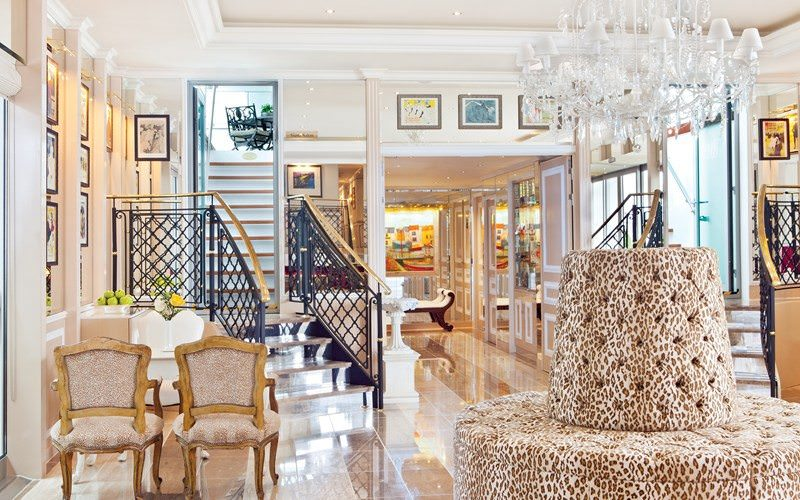 The stunning reception lobby welcomes guests aboard Uniworld's River Countess. Photo courtesy of Uniworld Boutique River Cruises.