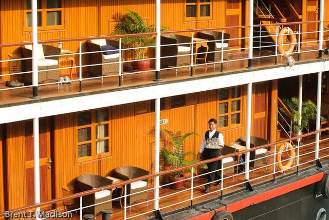 Kick back and relax on the ship's expansive promenades. Photo courtesy of Pandaw.