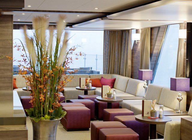 The Panorama Bar aboard Amdeus Silver reflects the ship's sleek, modern ambiance. Photo courtesy of Amadeus Cruises