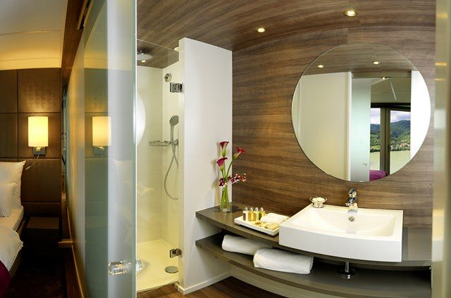 Bathrooms, like this one in one of the suites aboard Amadeus Silver, have been designed with form and functionality in mind. Photo courtesy of Amadeus Cruises
