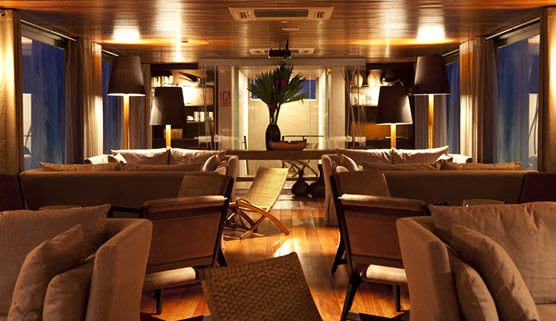 The Lounge aboard the MV Aria is elegantly appointed. Photo courtesy of Aqua Expeditions.