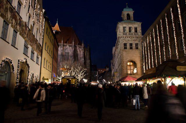 Residents and visitors alike converge on Nuremberg's historic Christmas Market. Photo © 2013 Aaron Saunders