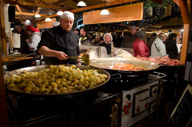 Budapest's Christmas Market can be a great place to sample a hot bowl of Goulash during the winter months. Photo © 2012 Aaron Saunders