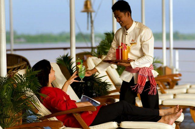 When sailing between ports of call, guests can relax and enjoy the service onboard. Photo courtesy of Pandaw.