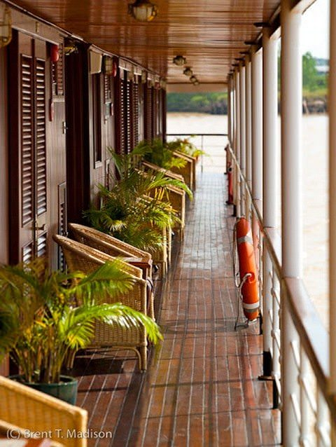 Inviting Promenade Decks, like this one aboard the Orient Pandaw, are fantastic for scenic cruising and encourage a convival onboard atmosphere. Photo courtesy of Pandaw.