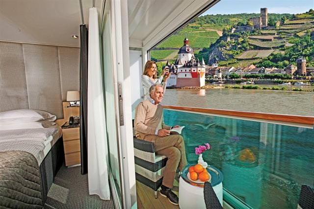 Scenic scored a major winner with their step-out balconies that can be fully enclosed at the push of a button. Photo courtesy of Scenic Tours.