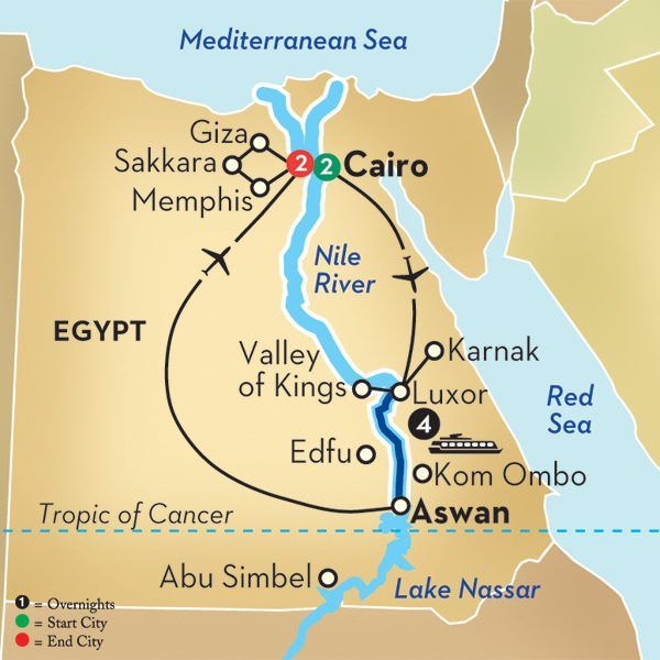 Avalon's nine-day Highlights of Egypt is an excellent introduction to the wonders of the region. Illustration courtesy of Avalon Waterways.